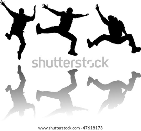 jumping silhouettes - stock vector