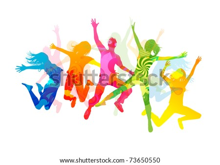 Jumping Summer People. Healthly young people vector illustration - stock vector