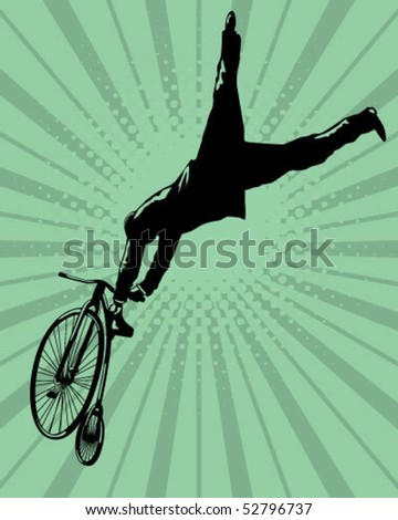 Jumping with an old bicycle. - stock vector