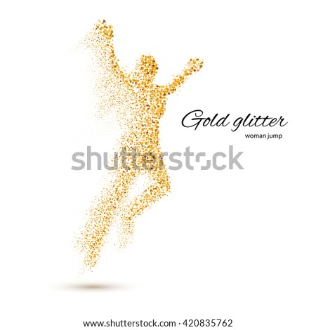 Jumping Woman in the Form of Gold Particles on White - stock vector