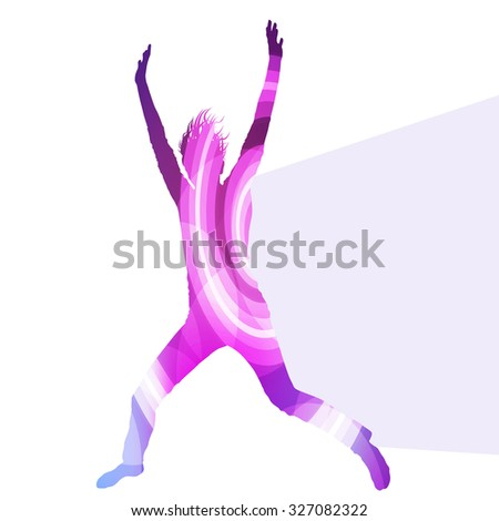Jumping woman silhouette illustration vector background colorful concept made of transparent curved shapes - stock vector