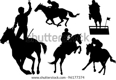 jumps; a collection of silhouettes of riders; illustration; - stock vector