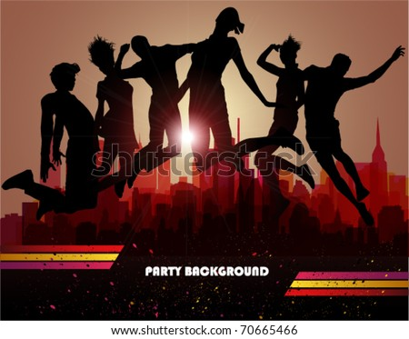 Jumps over city. Party background, vector illustration. - stock vector