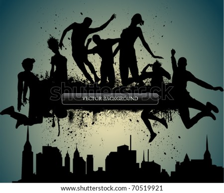 Jumps over City, vector illustration. - stock vector