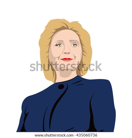 June 5, 2016: A vector illustration of a portrait of Democrat presidential candidate Hillary Clinton on isolated background - stock vector