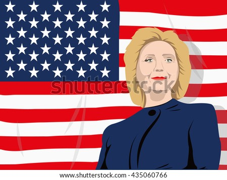 June 5, 2016: A vector illustration of a portrait of Democrat presidential candidate Hillary Clinton on national flag background - stock vector