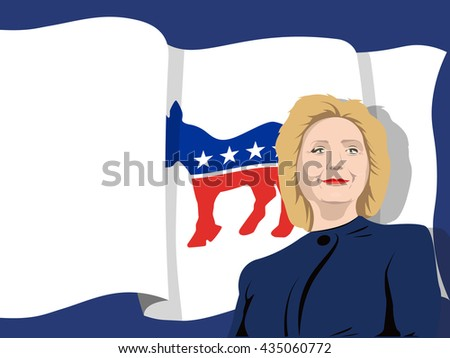 June 5, 2016: A vector illustration of a portrait of Democrat presidential candidate Hillary Clinton on Democratic Party flag background - stock vector