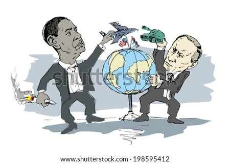 June 14, 2014: A vector illustration of a portrait of President Obama and Vladimir Putin - stock vector