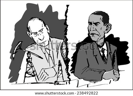 June 18, 2014: A vector illustration of a portrait of President Obama and Vladimir Putin  - stock vector