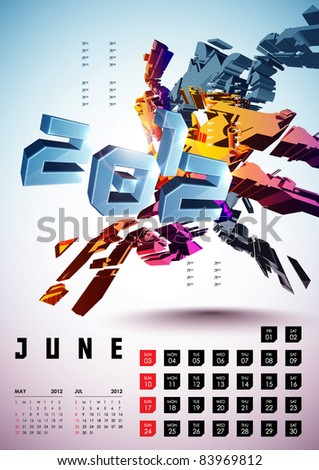 June - Calendar Design 2012 - stock vector