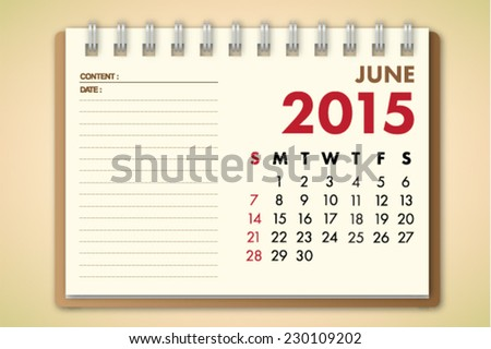 June 2015 Calendar Notebook Paper Vector  - stock vector