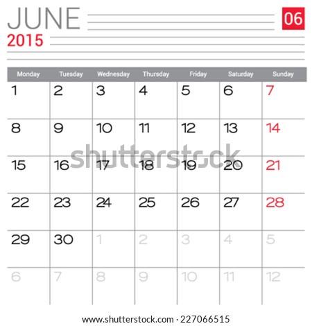 printable calendar june 2015