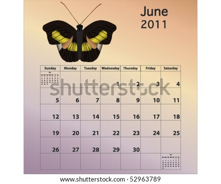 June 2011 calendar with butterfly - stock vector