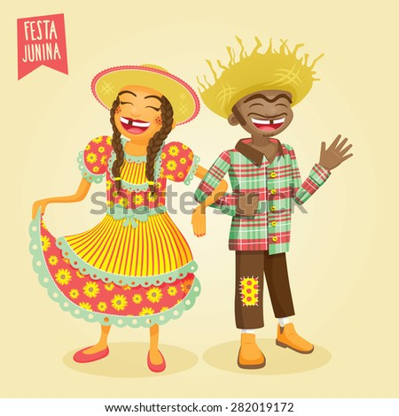 June Festival / St. John's Multiracial Young Couple - EPS 10 with transparencies - stock vector