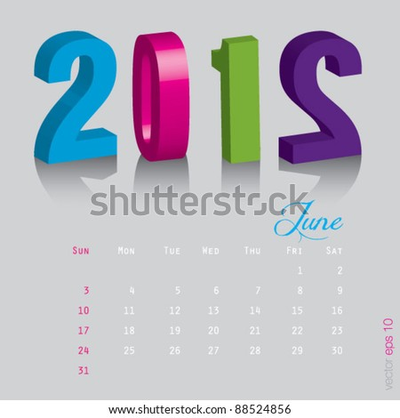 June New year 2012. Calendar 3d vector on gray background