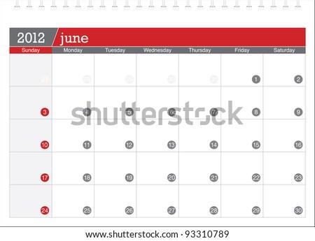 june 2012-planning calendar - stock vector