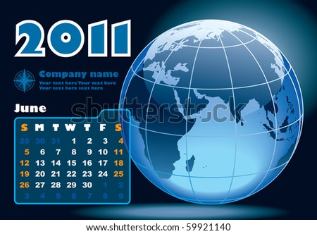 June - the Earth blue calendar for 2011, weeks starts on Sunday - stock vector
