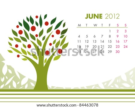 June Tree Calendar 2012. VECTOR