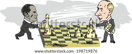 June 15, 2014: vector illustration, President Obama and President Putin are playing chess  - stock vector