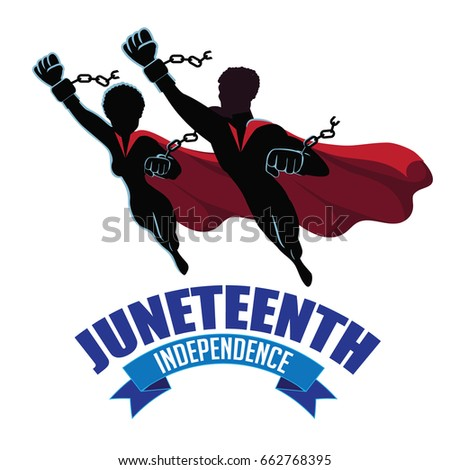 Juneteenth Independence Design With Super Man And Woman Wearing Broken Shackles EPS 10 Vector