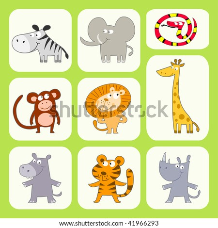 Jungle Animals Collection - stock vector