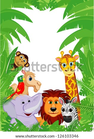 Jungle Animals Frame with copy space - stock vector
