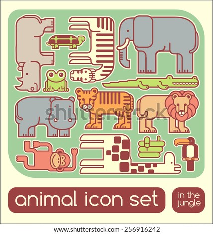 Jungle animals icons children's puzzle set - stock vector