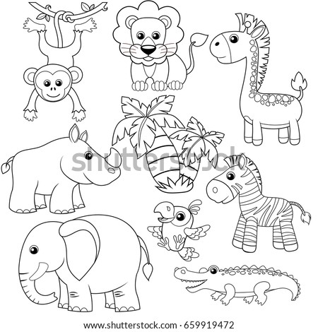 Jungle Animals Lion Elephant Giraffe Monkey Parrot Crocodile Zebra