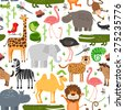 Jungle animals seamless pattern. Crocodile and wild safari, monkey and snake, lizard and camel, rhinoceros and hippopotamus, vector illustration - stock vector