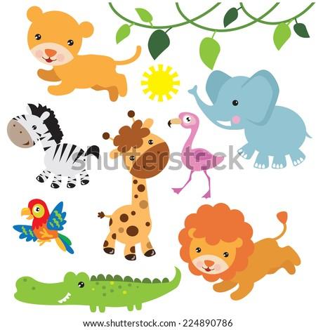 Baby Shower Design Cute Jungle Animals Stock Vector