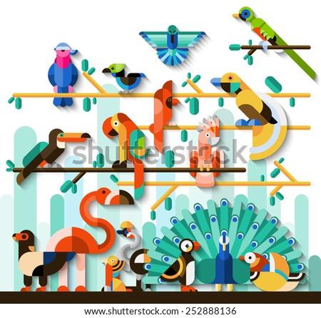 Jungle birds rainforest wildlife concept with tropic animals set vector illustration - stock vector