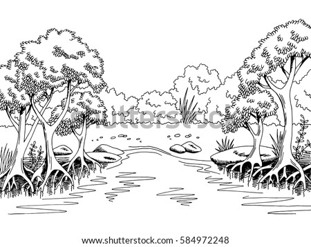 jungle forest river graphic black white stock vector 584972248 shutterstock. Black Bedroom Furniture Sets. Home Design Ideas