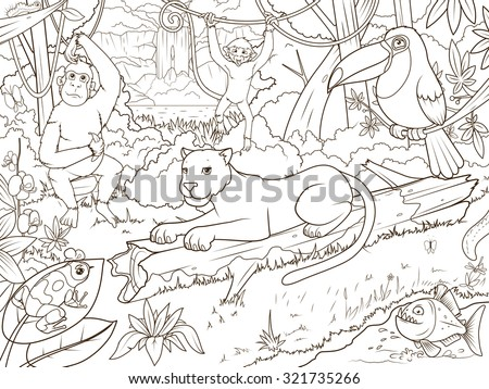 Jungle forest with animals cartoon coloring book vector illustration - stock vector