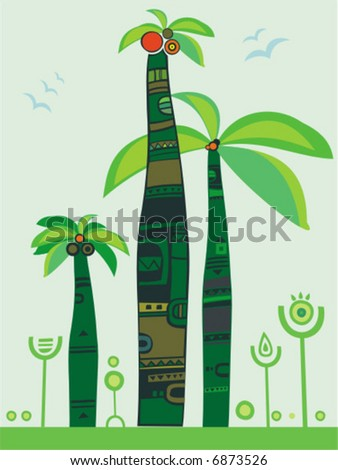 jungle palm trees.