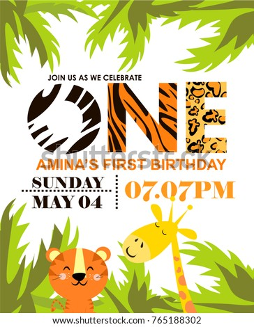Jungle party invitation card stock vector 765188302 shutterstock jungle party invitation card stopboris Choice Image