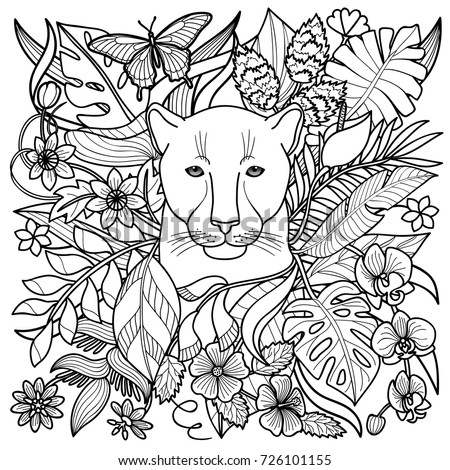 jungle pattern with panther flowers and leaves outline coloring page textile print - Flower Outline Coloring Page
