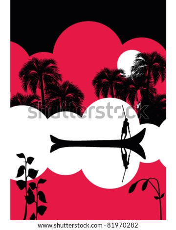 Jungle river scene - stock vector