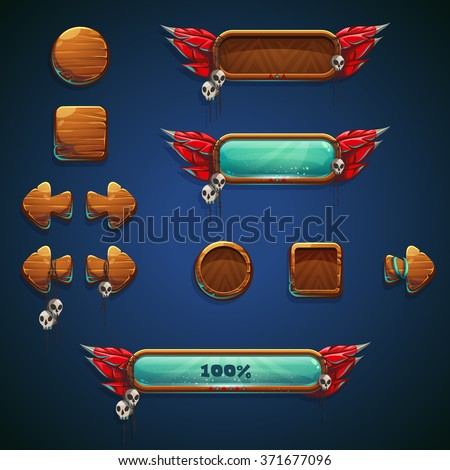 Jungle shamans mobile GUI set elements - game buttons for video or game user interface and web design - stock vector