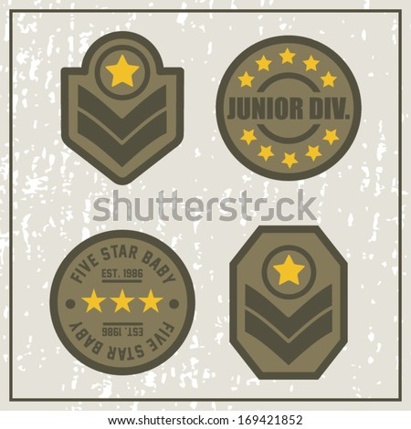 Junior Division Army Patches - stock vector