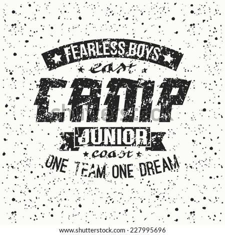 Junior sports training camp emblem. Graphic design for t-shirt.  Black  print on a  white background