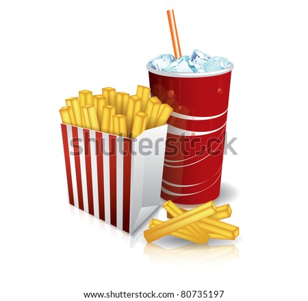 Junk food - french fries and soda - stock vector