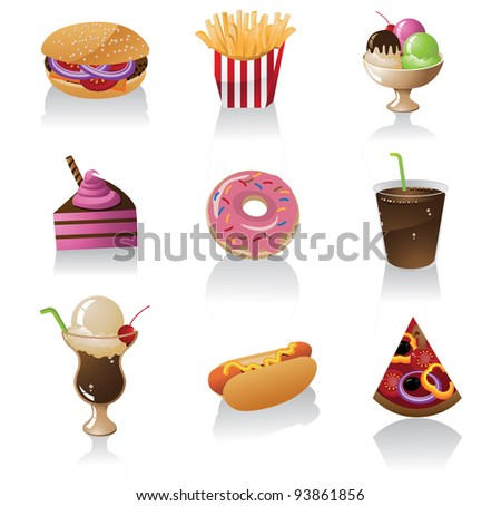 Junk Food Icon Symbol Set EPS 8 vector, grouped for easy editing. No open shapes or paths. - stock vector