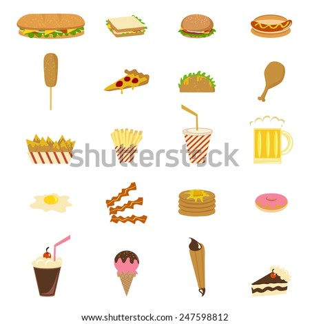 Junk food, icons, vector illustration set collection - stock vector