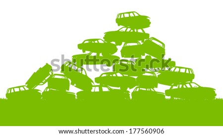 Junkyard, waste, dump green ecology background concept waste management and sorting - stock vector