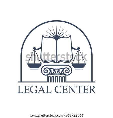 juridical legal center vector icon with scales of justice open book on column pillar capital