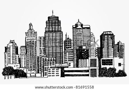 Just a Sketch of a Big City - stock vector