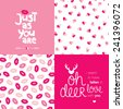 Just as you are love message typography cover design for valentine and seamless hearts and lips illustration background pattern in vector - stock photo