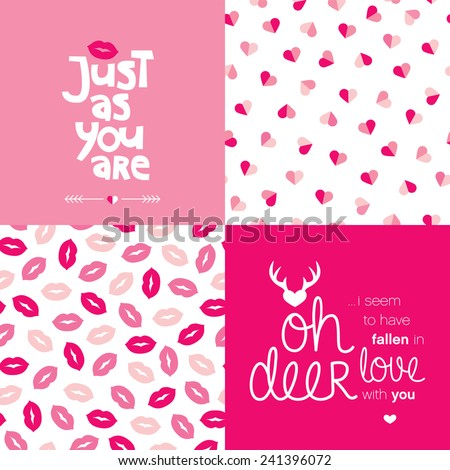 Just as you are love message typography cover design for valentine and seamless hearts and lips illustration background pattern in vector - stock vector