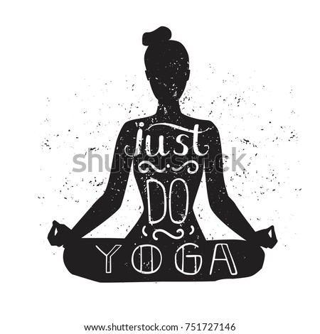 meditation black silhouette quote about time stock vector