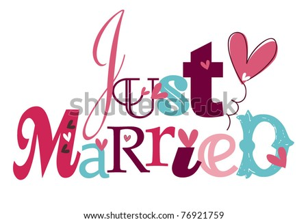 just married - stock vector
